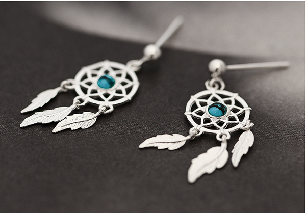 SILVER OF LIFE 925 DREAM CATCHERS SILVER DROP EARRINGS