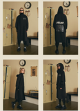 FRLMK ABNORMAL COLLECTION RETRO LONG TRENCH BLACK UNISEX JACKET - boopdo