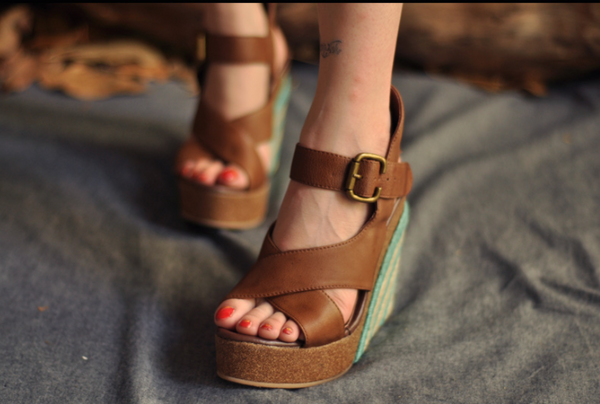 ARTMU LEATHER HIGH WEDGE SANDALS IN BROWN