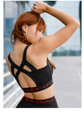 MIP STRAPPY BRA TOP WITH LETTERS PRINTED WAISBAND