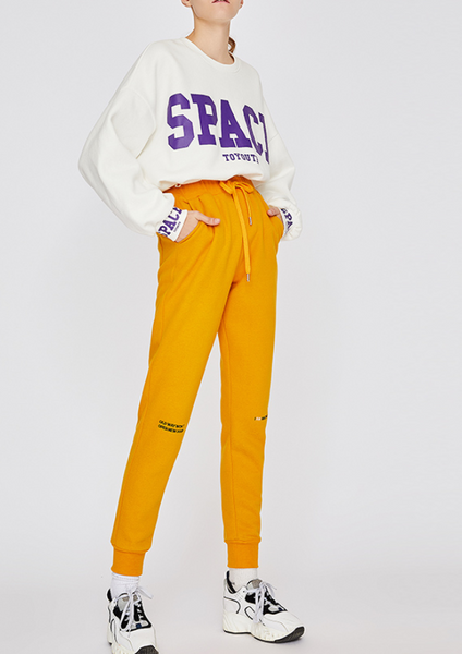 URBAN TRENDY LETTERS PRINT TRACKSUIT IN YELLOW BLACK 8844401009