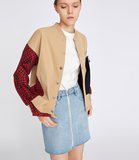 TOYOUTH CHECK DETAIL JERSEY BOMBER JACKET