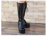 ZHENKA TIFFANY COSBY PUNK LOLITA PLATFORM HIGH BOOTS IN BLACK - boopdo