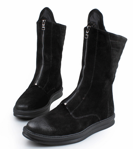 BARREL MATTE LEATHER CRAFT PLUSH HIGH TOP BLACK BOOTS