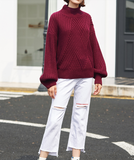 TOYOUTH OVERSIZE KNITTED JUMPER8840423001 IN ROYAL BLUE MAROON AND GINGER - boopdo