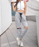 MIP RIPPED AND LACE UP TRACK PANTS IN GREY