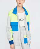 TOYOUTH TRACK JACKET IN WOLF GREY WITH BLUE NEON COLOR DESIGN 8831402027