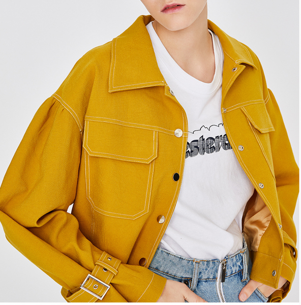 TOYOUTH TRUCKER JACKET IN BRIGHT YELLOW