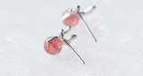 SILVER OF LIFE 925 STRAWBERRY ROTATED CRYSTAL DESIGN SILVER EARRINGS