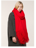 FRINGE EDGE DESIGN CASHMERE THICK KNIT SCARF SHAWL