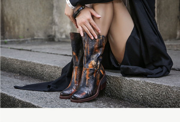 SPRING BLOSSOMS VINTAGE LEATHER HEELED WESTERN BOOTS