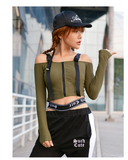 MIP OFF SHOULDER LONG SLEEVE CROP TOP WITH ZIP FRONT DETAIL