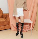 SEVEN DAYS RETRO CHECK KNEE HIGH SOCKS - boopdo