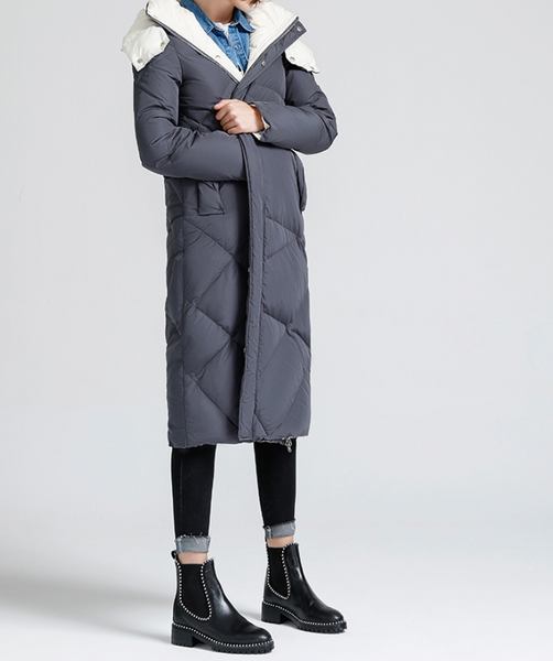 TOYOUTH LONGLINE DOWN FILLED COAT IN GREY BLACK 8630912005 - boopdo