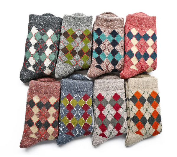 ACALEN FOUR PACK RETRO CHECK PRINT WOOL BLEND ANKLE SOCKS