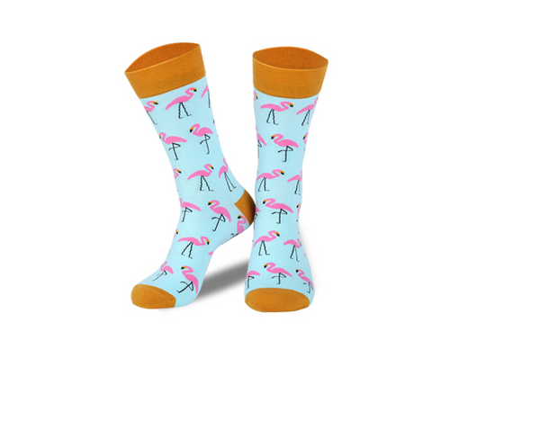 HEYNICE FLAMINGO PRINT ANKLE SOCKS IN MULTI - boopdo