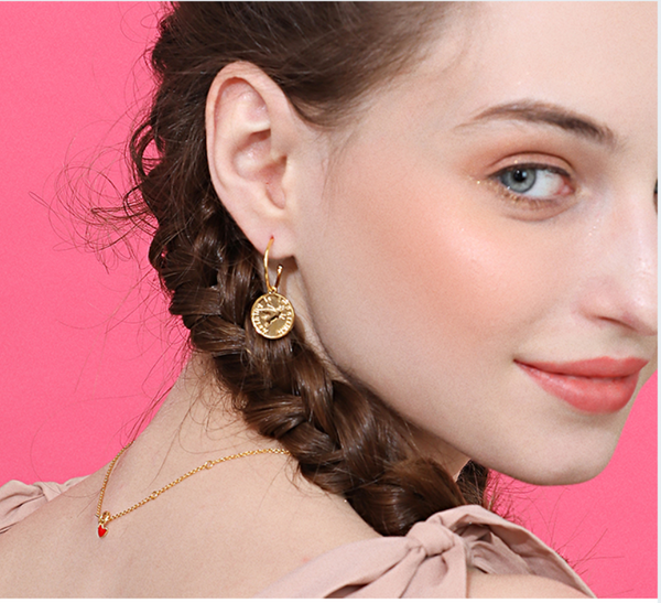 JELLY GIRL 18K GOLD COIN DROP HOOP EARRINGS - boopdo