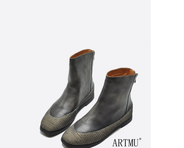 ARTMU ZIP BACK FLAT ANKLE LEATHER SOCK BOOTS - boopdo