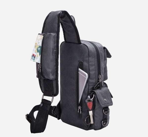 YOOK EURAME WATERPROOF SLUNG PU LEATHER CHEST BACKPACK - boopdo