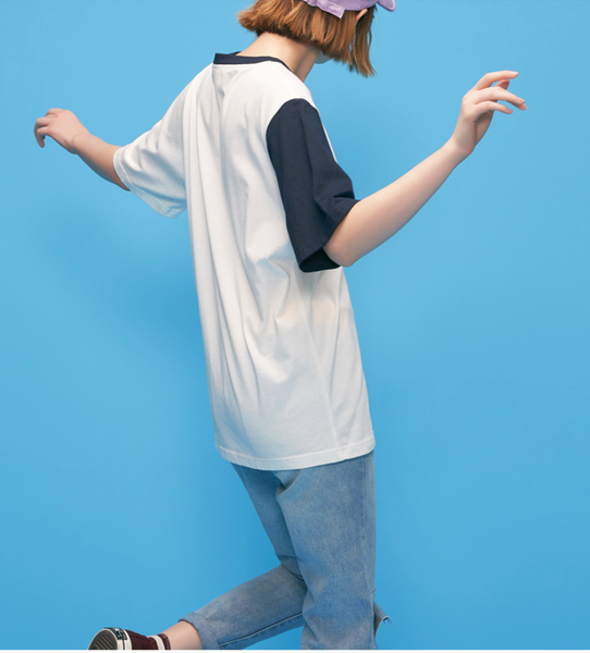 TOYOUTH COLOR BLOCK LETTERS PRINT ORGANIC COTTON T SHIRT 8820121050