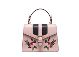LAFESTIN BUCKLE SHOULDER BAG WITH FLORAL PATCHING 618993 - boopdo