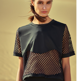 CAGGEEN CHAIN MESH TOP WITH BRALET IN BLACK - boopdo