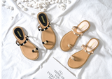 BOOPDO DESIGN BEACH SANDALS WITH PEARL EMBELLISHED STRAPS