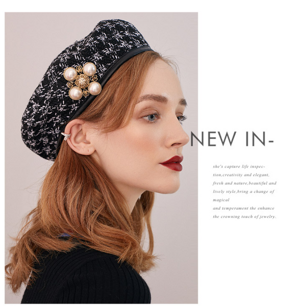 SHES CHECK WOOLEN BERET WITH PEARL BROOCH DETAIL SFH9219182 - boopdo