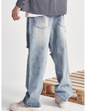 ALEXO BROW BTW WIDE LEG RIPPED DENIM JEAN SWEATPANTS - boopdo