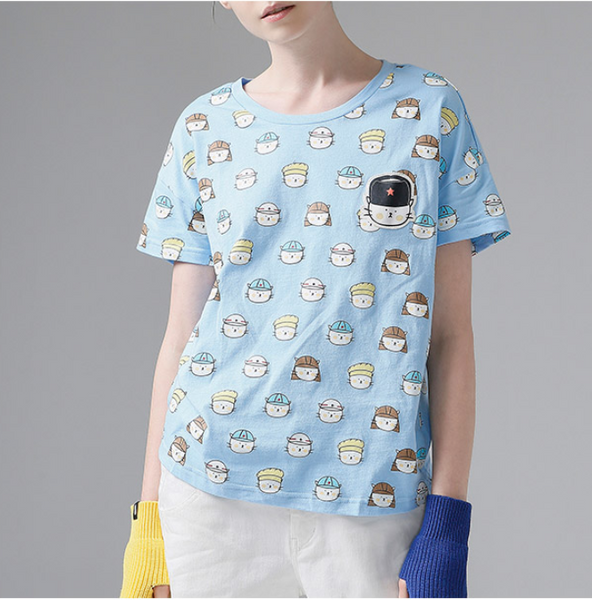 TOYOUTH CARTOON ALL OVER PRINT COTTON T SHIRT 8620131056C BLUE - boopdo