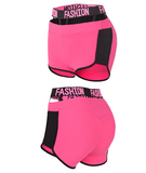 MIP 3 INCH BRANDED STRETCH WAISBAND SHORTS IN PINK - boopdo