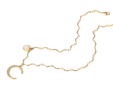 ZEGL PACK OF TWO GOLD PLATE JEWEL HALF MOON NECKLACE - boopdo