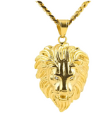 AXXOCORIA THREE DIMENSIONAL LION HEAD PENDANT WITH CUBAN CHAIN GOLD PLATED - boopdo