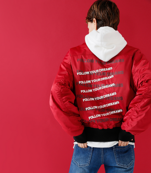 TOYOUTH BOMBER JACKET WITH BACK LETTER EMBROIDERED 556789947514 - boopdo