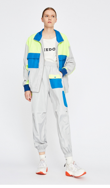 TOYOUTH TRACK JACKET IN WOLF GREY WITH BLUE NEON COLOR DESIGN 8831402027 - boopdo
