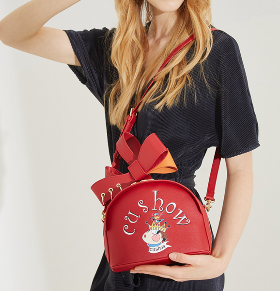 CUSHOW CROSS BODY BAG WITH RIBBON DETAIL RED