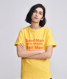 TOYOUTH BLOCK LETTERS PRINT T SHIRT IN WHITE AND YELLOW 8820131000 - boopdo