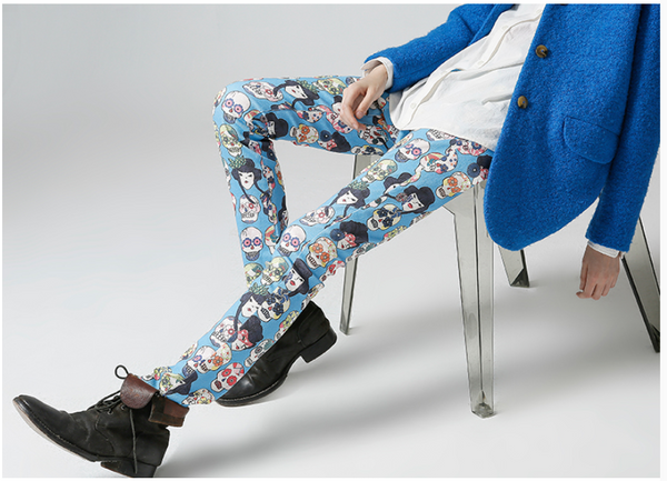 TOYOUTH EDITION CARTOON SKULL ALL OVER TROUSERS BLUE 8631902046