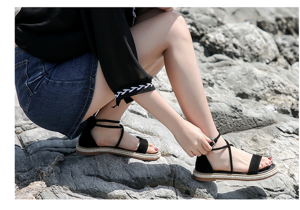 BOOPDO DESIGN BOHO SANDALS WITH LEG TIE