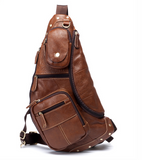 MANTIME BOOPDO DESIGN VINTAGE HANDMADE CASUAL LEATHER CHEST BAG IN BROWN AND KHAKI - boopdo