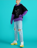 TOYOUTH TWO FER OVERSIZE HOODIE 8830521049 BLUEWHITE BLACKPURPLE - boopdo