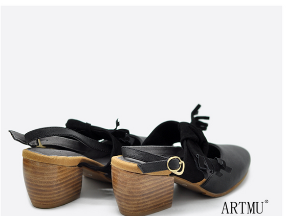 ARTMU BLOCK HEELED SLING BACK SHOES WITH WRAP DETAIL