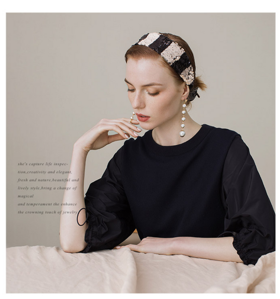 SHES HANDMADE SEQUIN WIDE HEADBAND IN BLACK WHITE STRIPE SHD9201976