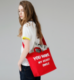 TOYOUTH YOU MAKE ME SMILE CANVAS BAG IN RED 8722816008a