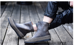 ARTMU ZIP BACK FLAT ANKLE LEATHER SOCK BOOTS