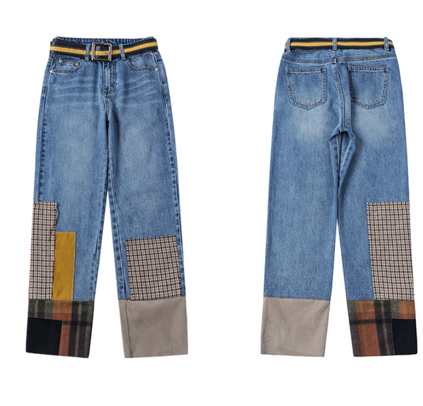 MAXMARTIN HIGH RISE STRAIGHT LEG JEANS WITH CHECK PATCHES
