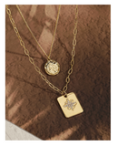UZL DESIGN SQUARE AND COIN PENDANT MULTIROW NECKLACE IN GOLD PLATED - boopdo