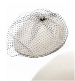 MQUEEN WHITE WOOL BERET WITH BLACK MESH DETAIL 18LLDM1246