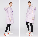 TOYOUTH LAVENDER DOWN FILLED COAT WITH FAUX FUR HOODIE 8840912012