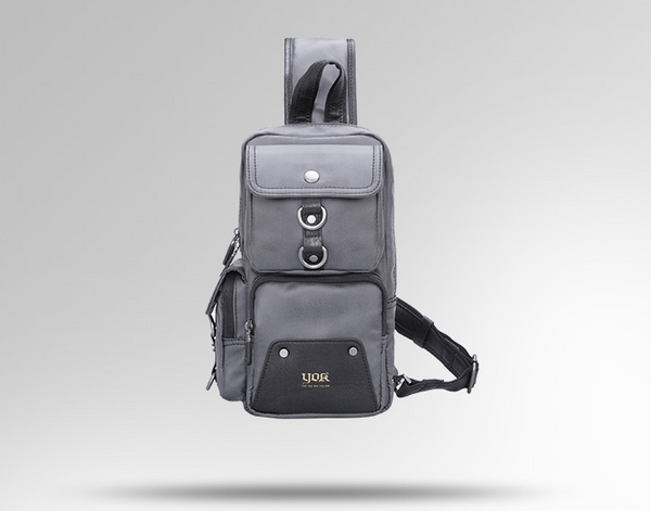 YOOK EURAME WATERPROOF SLUNG PU LEATHER CHEST BACKPACK